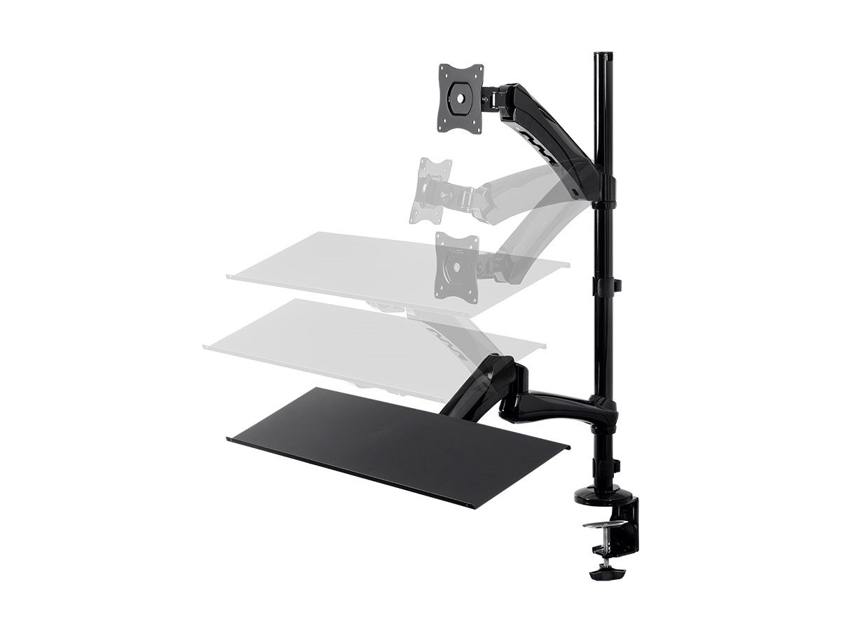 Monoprice 115717 Sit-Stand Monitor and Keyboard Workstation, Black