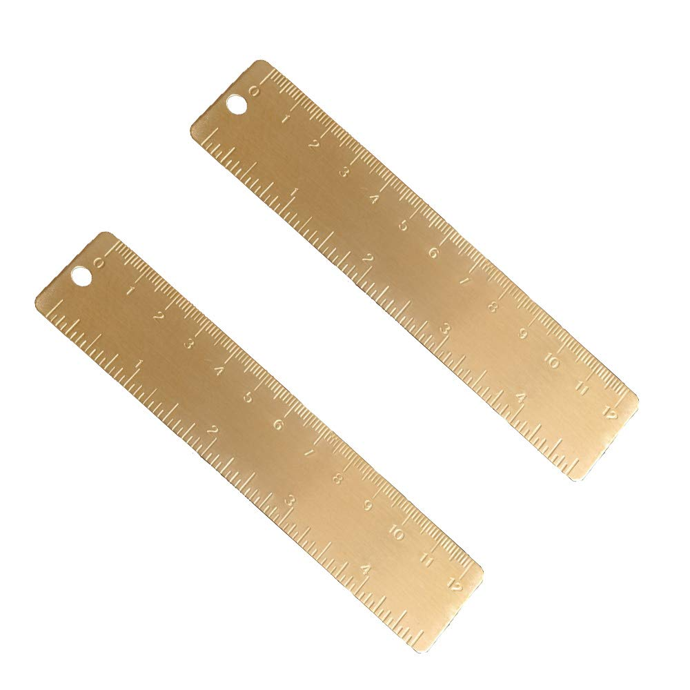 Ideal for Notebooks Planners EKLOEN 6 Inch Brass Ruler Durable Tiny Ruler Diaries and As a Bookmark