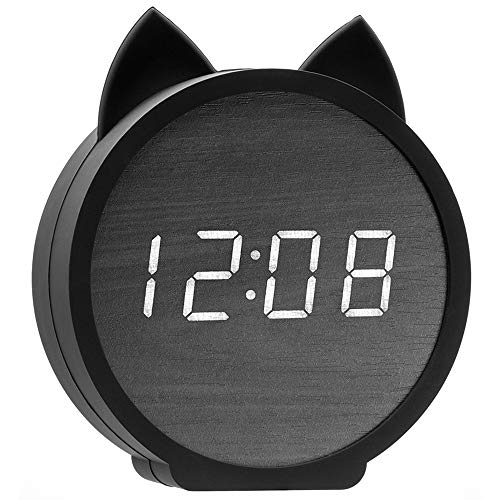 Three BY Digital Alarm Clock,3 Alarm Settings Wooden Electronic LED Display Snooze Time Temperature USB Charging with Voice Control for Bedroom,Bedside Kids,Office-Black (Cat) (Cat Clock Small)