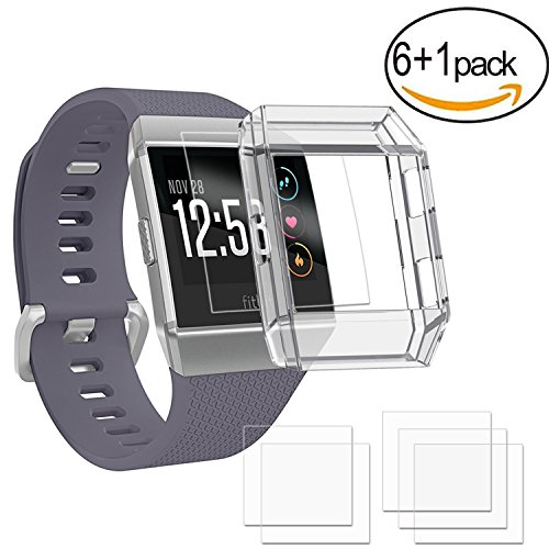 Price comparison product image HEYSTOP Fitbit Ionic Screen protector With fitbit Ionic Case, [6-PACK] [Bubble-Free][Anti-Fingerprints] Full Coverage Screen Protector for Fitbit Ionic Smart Watch