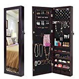 Giantex Wall/Door Mounted Jewelry Armoire Organizer with 2 LED Lights, Lockable Height Adjustable Jewelry Cabinet with Full Length Mirror, Large Capacity Dressing Makeup Jewelry Mirror Storage (Brown)