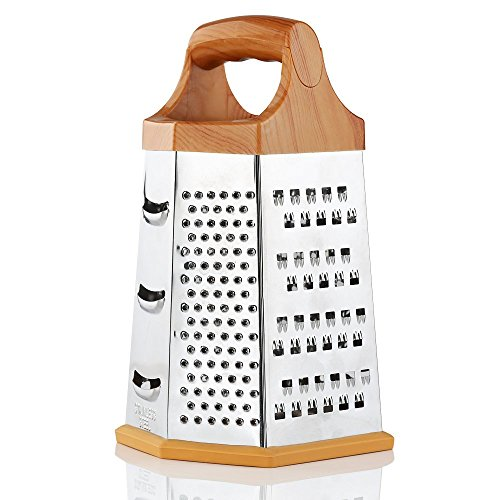 Cheese Grater,Hibro Box Grater 6 Sides Stainless Steel Grater 6 In One Ginger For Parmesan Cheese Vegetables 9 ()