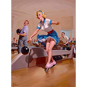 1940s Pin-Up Girl Bowling a Strike Picture Poster Print Vintage Pin Up