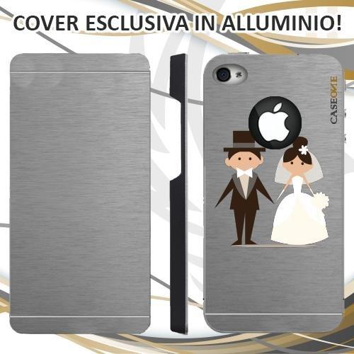 CUSTODIA COVER CASE WEDDING DAY PER IPHONE 4 ALLUMINIO TRASPARENTE