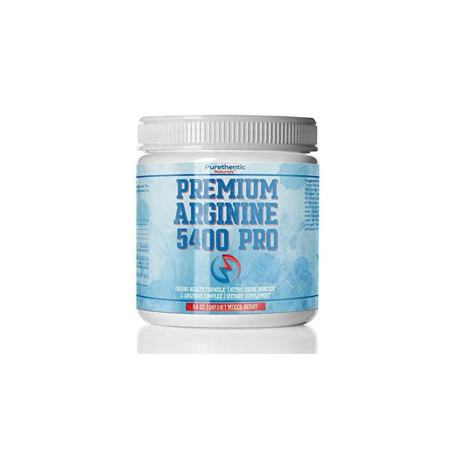 L Arginine Powder 5400mg — Premium Nitric Oxide Powder — Supports Blood Pressure & Cholesterol — Mixed Berry Flavor Promotes Natural Energy & Cardiovascular Health (9.4 oz. 267.1 g)