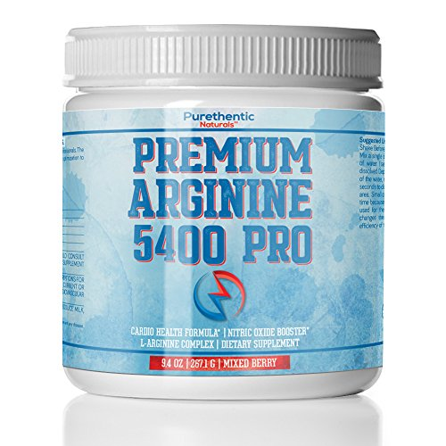 L-Arginine Powder 5400mg - Nitric Oxide Powder - Supports Blood Pressure And Cholesterol - Mixed Berry Flavor - Promotes Natural Energy and Cardiovascular Health - (9.4 oz.) (Foods To Lower High Blood Pressure Immediately)