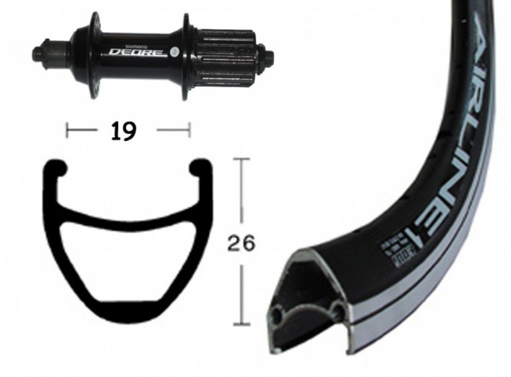 Bike-Parts 28´´ Hinterrad Rodi Airline 1 + Shimano Deore 8 9-fach (QR)