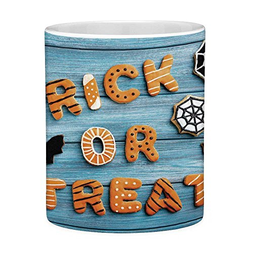 Funny Coffee Mug with Quote Vintage Halloween 11 Ounces Funny Coffee Mug Trick or Treat Cookie Wooden Table Ghost Bat Web Halloween Blue Amber -
