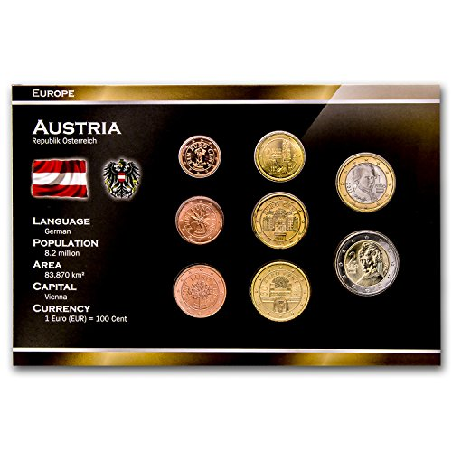 AT 2002 Austria 8-Coin Euro Set Brilliant Uncirculated