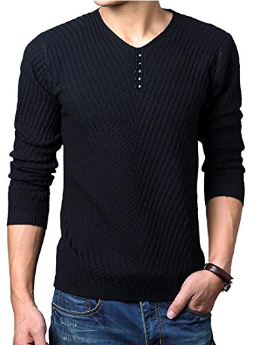 OTW Mens VNeck Long Sleeve Solid Knit Pullover Sweater Casual Shirt Black S