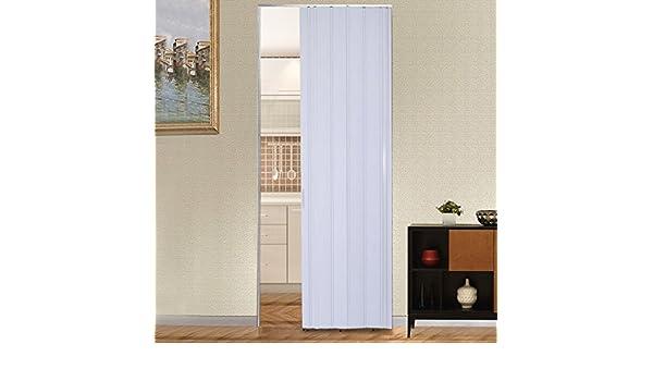 Puerta de acordeón plegable de calidad de color blanco marfil marrón brillante PVC con cerradura de 12 mm, blanco: Amazon.es: Bricolaje y herramientas