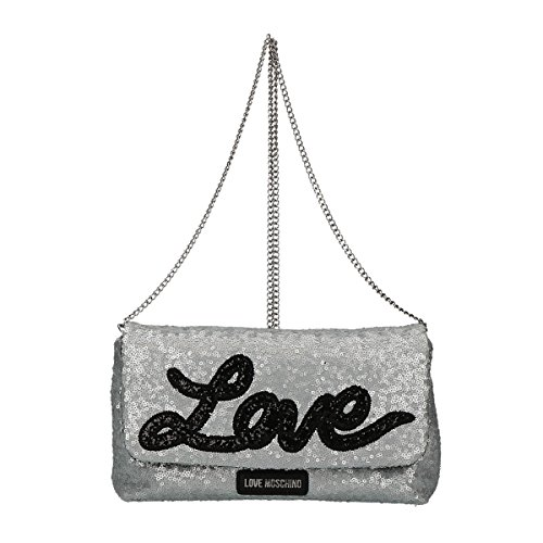 silver bag Love Moschino crossbody Sequins qg6fWFz
