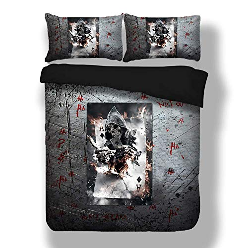 (Erosebridal Grim Reaper Queen Size Duvet Cover Set Halloween Terrorist Design Breathable Quilts Cover with Zipper Closure 3D Soft Microfiber Comforter Cover Retro Skull Bedding Sets for Teen Kid)
