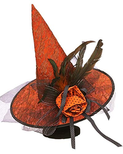 Mark Roberts Orange Lace Witch Hat, Orange/Black, One Size -
