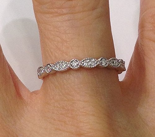 Amazon Com Bead And Eye Stacking Wedding Band Diamond Ring Art