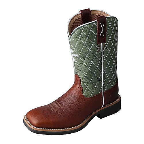 Image of the Twisted X Boys' Green Cowkid Work Boot Square Toe Cognac 5.5 D(M) US