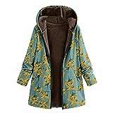 NUWFOR Women's Cotton Linen Fluffy Coat Faux Fur Zipper Outwear Hooded Long Sleeve Plus Size Warm Overcoat(Green,4XL)