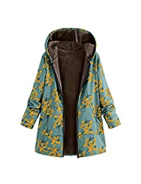 WYTong Newest! Womens Oversize Coats Winter Warm Floral Print Hooded Outwear Vintage Pockets Jacket