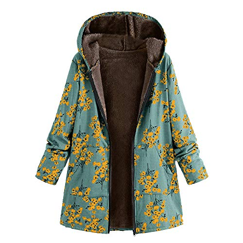 HULKAY Women Tops Upgrade Long Sleeve Zip Thick Composite Plush Retro Plant Print Plus Size Hooded Jacket(Green -