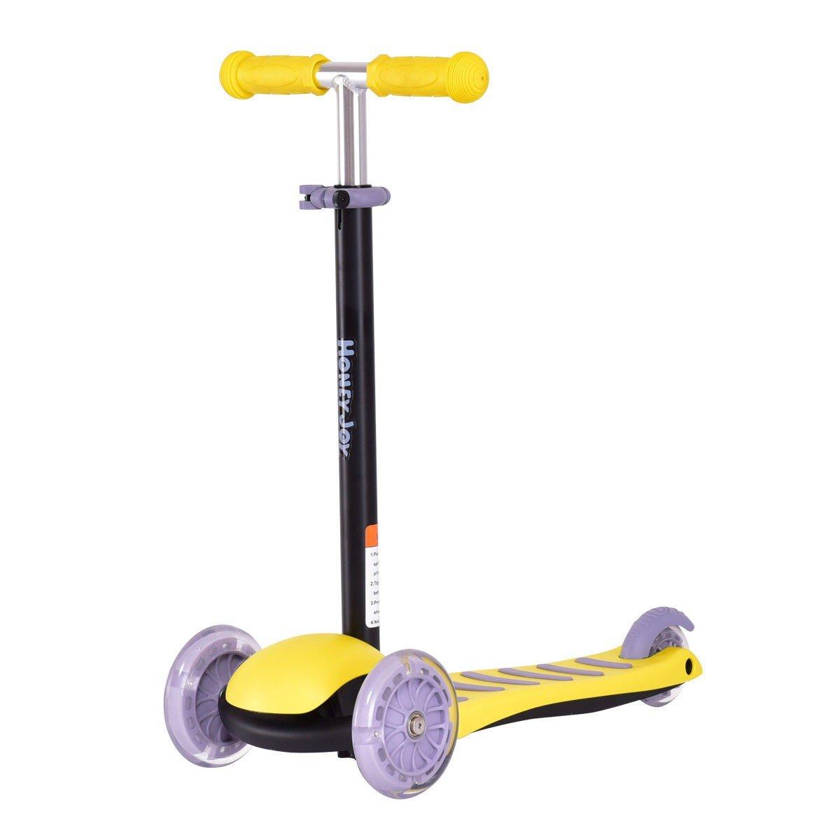MD Group Kids Kick Scooter Yellow Adjustable Height Handlebar 3 LED Light up PU Wheels