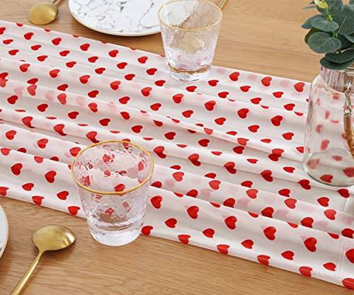 SoarDream Table Runner 27 x 120 Inch White Chiffon Wedding Decorations Sheer Party Table Runner Romantic Hearts Valentine's Day Table Runners