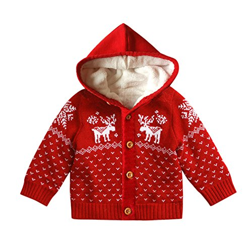 Fashion Story Toddler Unisex Baby Newborn Baby Kids Button-up Cotton Coat Deer Christmas Cardigan Sweater (Ugly Christmas Toddler Cardigan Costumes)