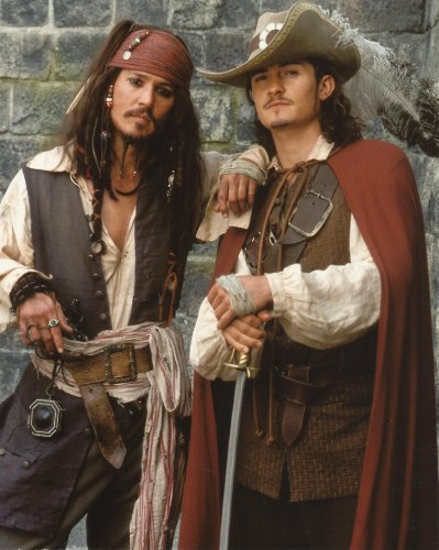 Johnny Depp, Orlando Bloom Pirates of the Caribbean 8x10 Photo posing in costume (Orlando Costumes)