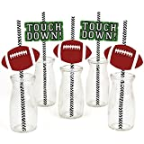 End Zone - Football Paper Straw Decor - Baby Shower or Birthday Party Striped Decorative Straws - Set of 24