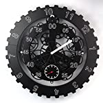 "TECHTONGDA 18"" Mechanical Style Gear Elements Quartz Movement Wall Clock Decorative Modern Steampunk Wheel Clock 6"