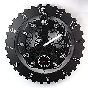TECHTONGDA 18″ Mechanical Style Gear Elements Quartz Movement Wall Clock Decorative Modern Steampunk Wheel Clock