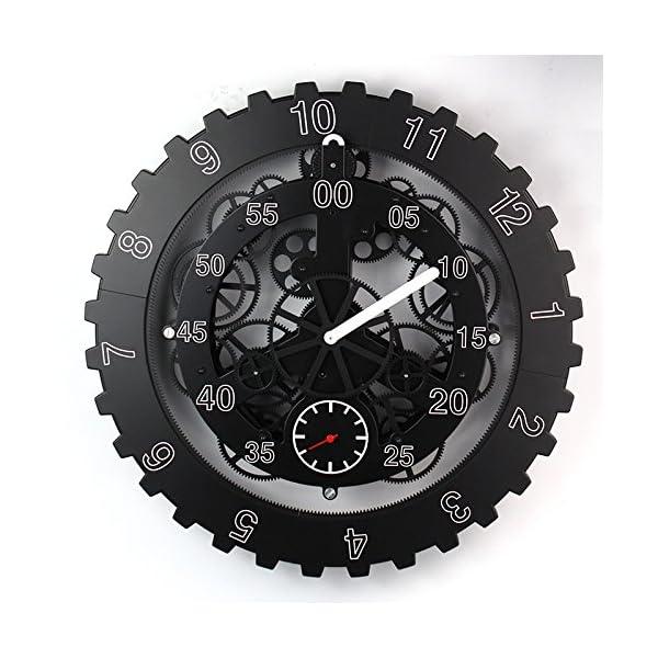 "TECHTONGDA 18"" Mechanical Style Gear Elements Quartz Movement Wall Clock Decorative Modern Steampunk Wheel Clock 3"