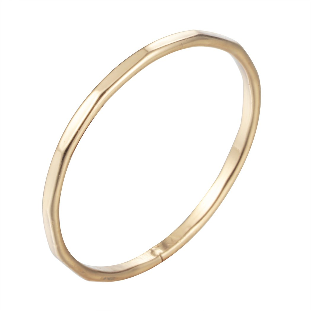 Simple Thin Ring Stacking 18K Gold Engagement Wedding Band DAYONE JEWELRY LTD 1221S8SHF3E
