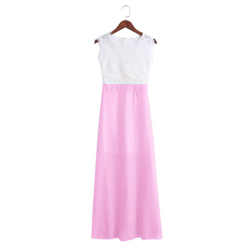 NNDA CO 1PC Spring Evening Party Lace Hollow Out Beach Maxi Dress Women Boho Sleeveless,Chiffon (M, pink)