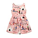 Girls Dresses for 5-12 Years,Internet Toddler Dress Infant African Toddler Butterfly Girls Sleeveless Lattice Flowers Print Mini Dress Sundress (9-10years, Pink)