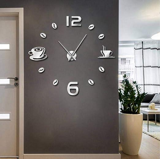 Caf/é BRICOLAGE Grande Horloge Murale Sans Cadre G/éant Horloge Murale Design Moderne Caf/é Tasse /À Caf/é Grain De Caf/é D/écor Murale Cuisine Montre Murale