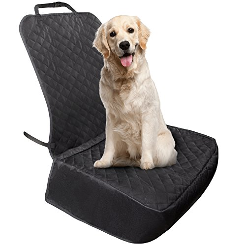 Dog Front Seat Cover/Protector - for Cars, SUVs, Trucks - Durable, Waterproof, Premium Quilted Non-Slip Cotton Material - Ideal for Small Pets