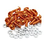 uxcell 25pcs M6 Orange Aluminum Alloy Hex Socket Head Motorcycle Bolts Screws Nuts
