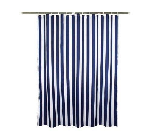 Navy Style Blue White Stripe Fabric Shower Curtain Waterproof, Vertical Stripes, 70 inches wide by 78 inches long