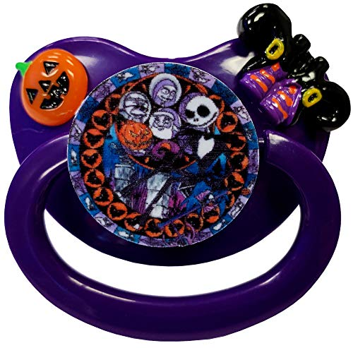 Envy Body Shop Adult Sized Cute Gem Halloween Pacifier Dummy for Adult Halloween Baby ABDL/DDLG/Little Space BigShield (Violet, Nightmare Party) -