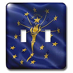 Carsten Reisinger - Illustrations - US state flag of Indiana waving in the wind - Light Switch Covers - double toggle switch (lsp_236166_2)
