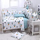 Brandream 100% Cotton Crib Bedding Set With Bumper,Bright Cactus Pattern Bedding Set,Green Plants Cactus Print Nursery Bedding Set,Unisex,Perfect Baby Shower Gift,7Pcs