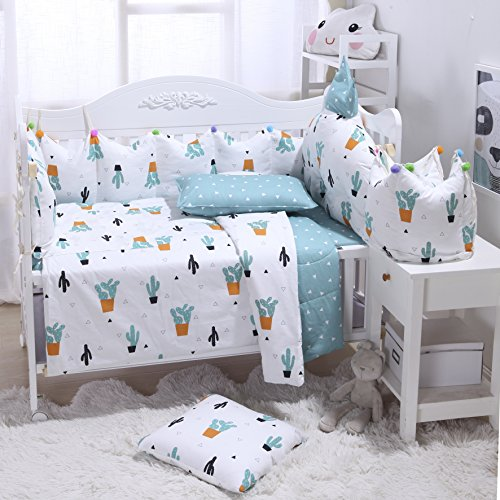 Brandream 100% Cotton Crib Bedding Set with Bumper, Bright Cactus Pattern Bedding Set,Green Plants Cactus Print Nursery Bedding Set,Unisex,Perfect Baby Shower Gift,7Pcs from Brandream