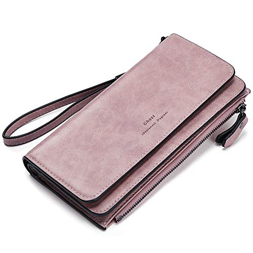 Wallets for Women Soft Oil Wax Leather Ladies Wristlet Clutch Purse Slim Trifold Multi Card Organizer Pink