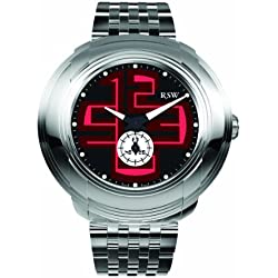 RSW Men's 9130.BS.S0.14.00 Volante Black And Red Designed Luminous Sub-Second Stainless Steel Bracelet Watch