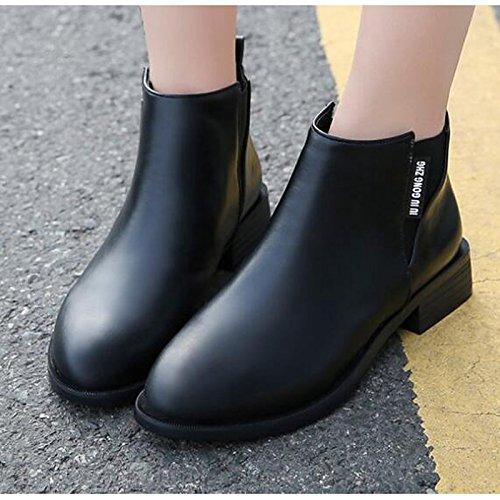 HSXZ Zapatos de mujer PU primavera otoño confort zapatos botas botas de combate talón plano señaló Toe botines/botines de encaje cosido for casual Black