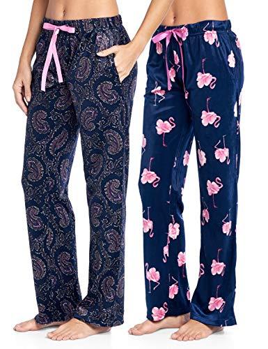 - Ashford & Brooks Women's Plush Mink Fleece Pajama Sleep Pants 2 Pack - Set 1 - Paisley/Flamingo - X-Large