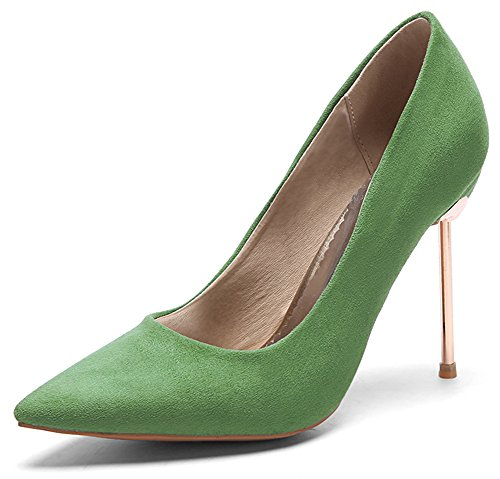 Green Stylish Womens Top Stiletto High Slip Suede Faux Toe Shoes Heels Pumps On Pointed IDIFU Low Hgq5wZdH
