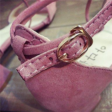 LvYuan Mujer Sandalias Tejido Otoño Paseo Hebilla Tacón Bajo Negro Gris Rosa Menos de 2'5 cms blushing pink