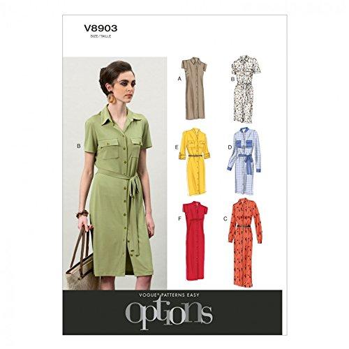 Vogue Ladies Easy Sewing Pattern 8903 Shirt Dresses & Belt