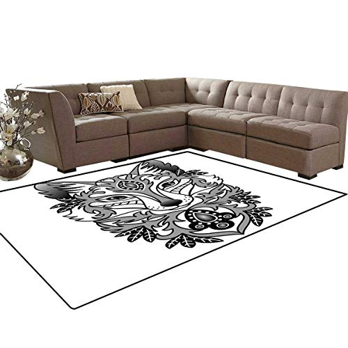 Fox Door Mats Area Rug Ornamental Fox Face with Tree Leaves Oval Shapes Dots Floral Curves Art Print Anti-Skid Area Rugs 6'x9' Grey Black White